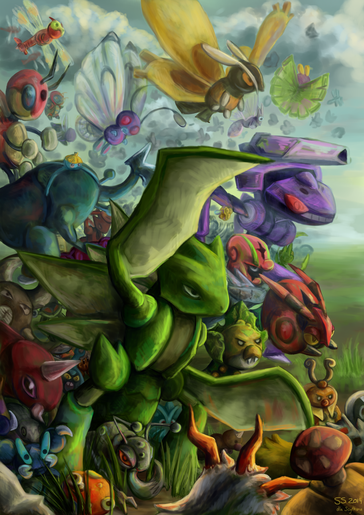 Scyther and bugs by pokePiterr