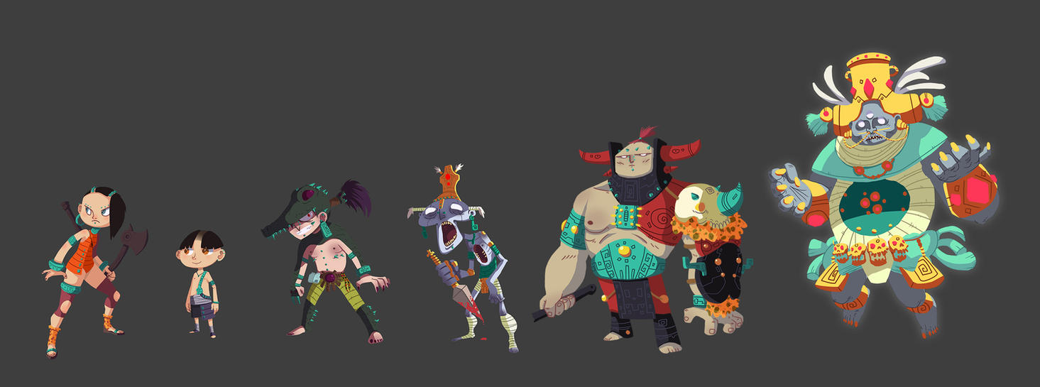 Mayan characters by DOGiukas