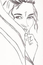 WIP -- woman in sari (inked)