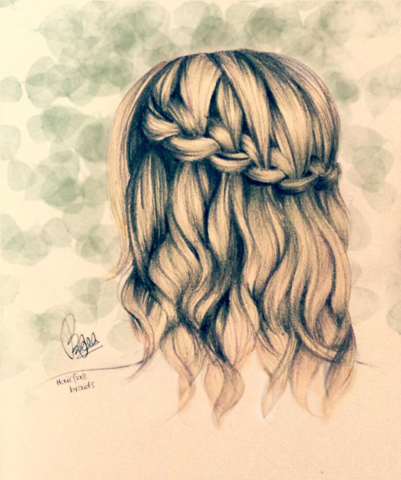 Waterfall braids by eightzerooneeight on DeviantArt Braided Hair Drawings Tumblr