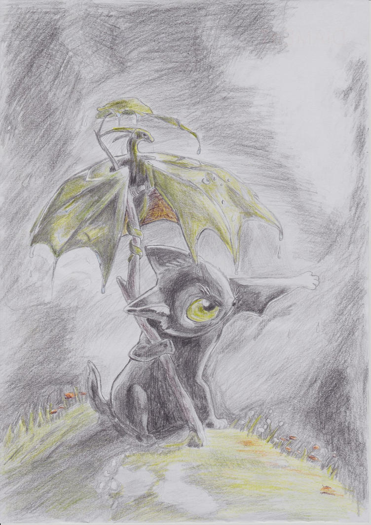 Cat with dragon by DWito9