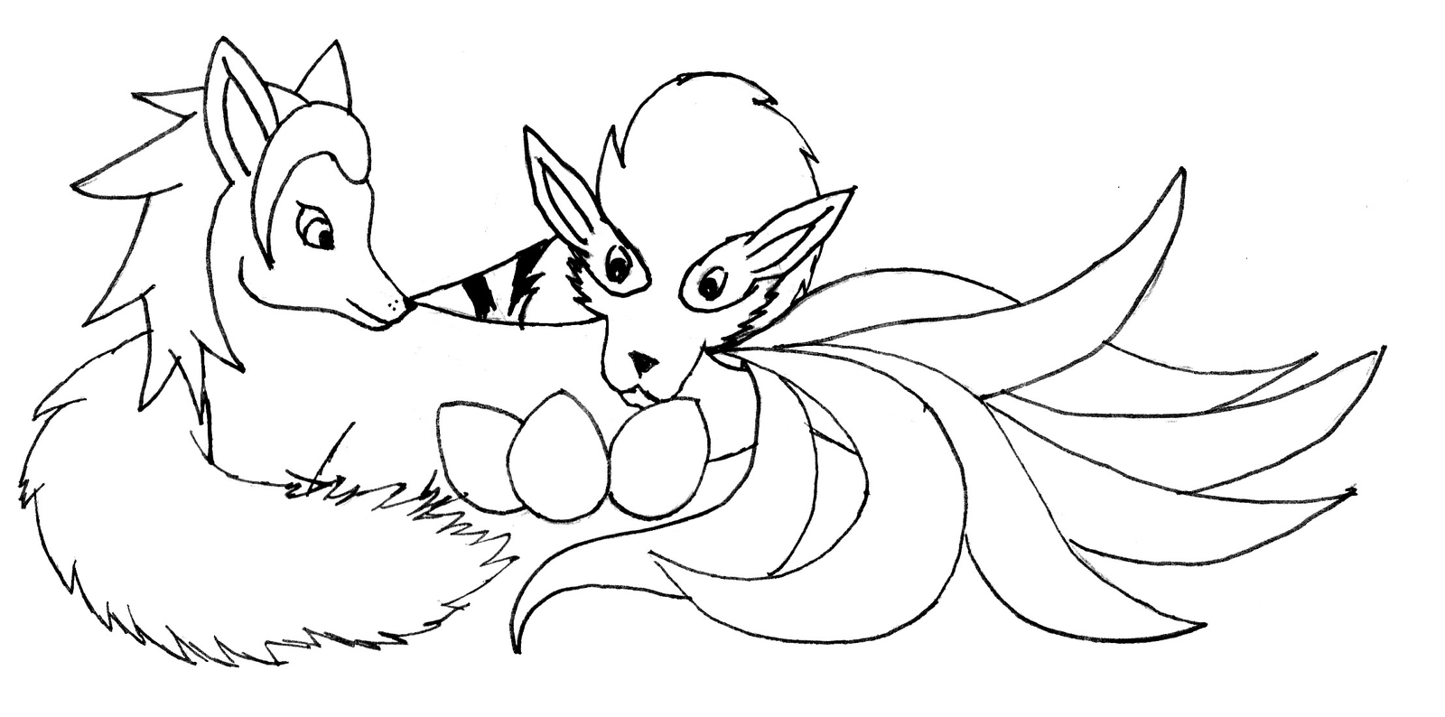 Ninetales And Arcanine By Animela WolfHybrid