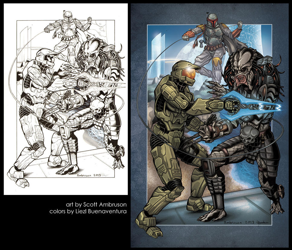 Master Chief vs. Predator vs. Boba Fett by lizzbuenaventura