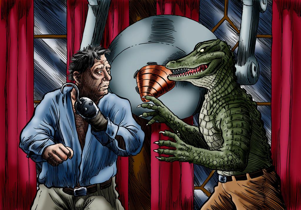 Lon Chaney jr vs Alligator Man by Loneanimator