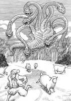 Inktober Monster Challenge15: Herren-surge by Loneanimator