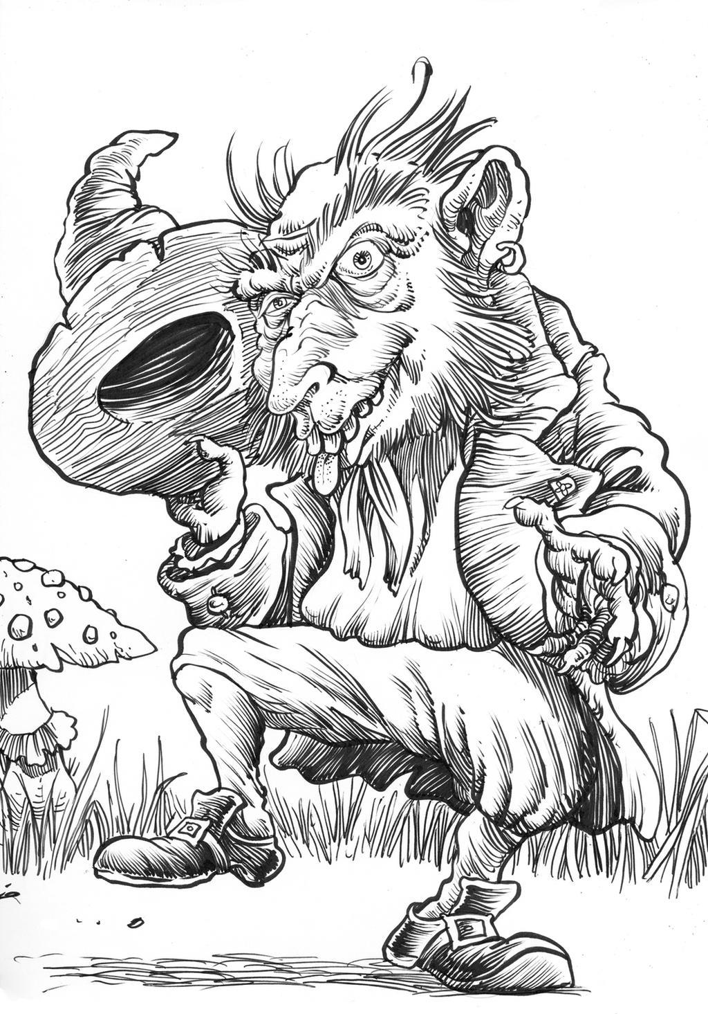 Inktober Monster Challenge 30: Far Darrig by Loneanimator
