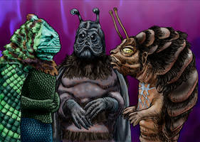 League of Alien Bad Guys With Really Short Arms by Loneanimator