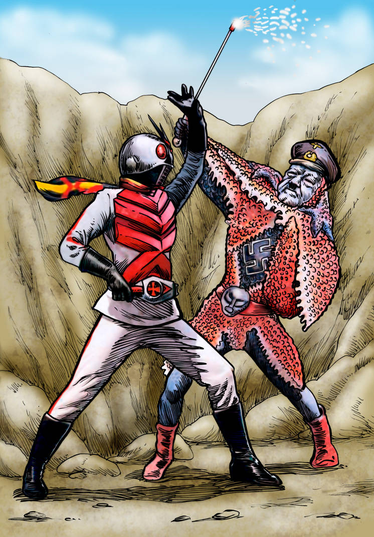 Kamen Rider X vs Starfish Hitler by Loneanimator