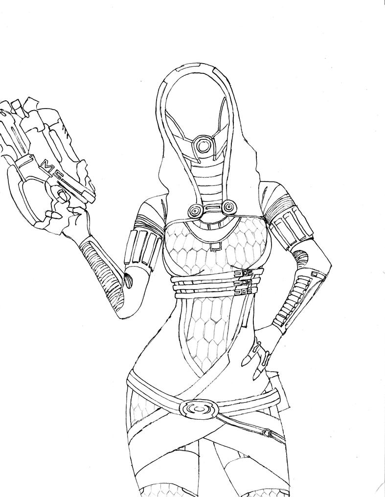 Line Art Effect : Tali sketch line art by fishbeef on deviantart