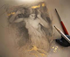 Study of Waterhouse painting, Lamia