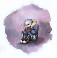 sad watercolor Sans by RitaTheHedgehog