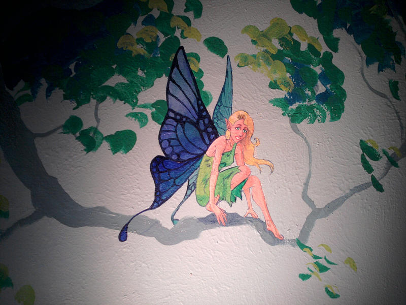 Fairy wall mural fairy room theme fairies pixies amp for Fairy tale wall mural