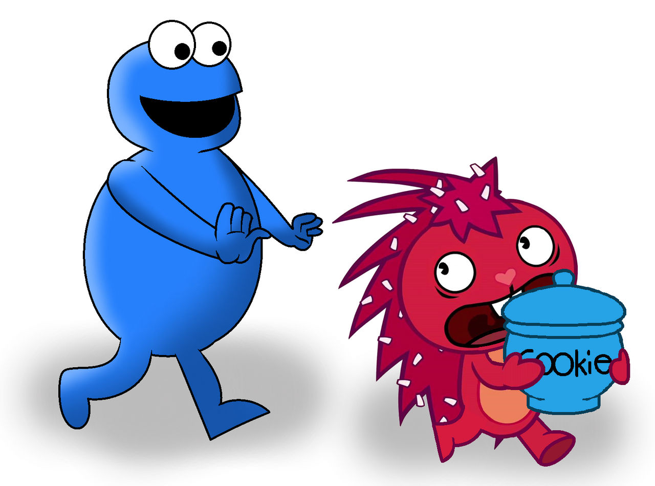 Cookie Monster Chasing Flaky
