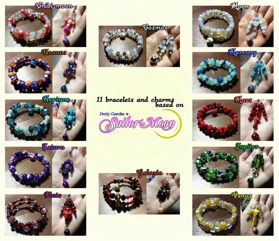 11 Sailor Moon-themed bracelet/charm sets by acidangels