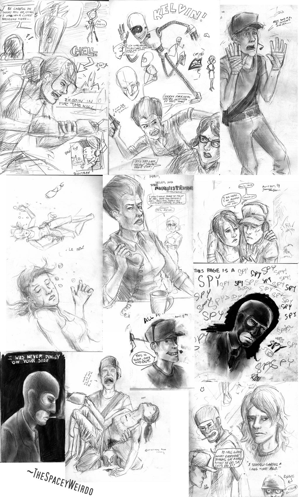 Drawing Collage 3 (TF2/Portal) by Sketch-Zap