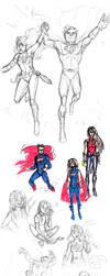AU Supergirl Sketchdump: June 2017 by LadyPep