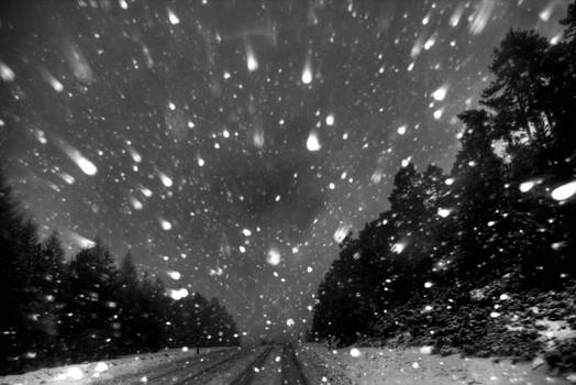 Evening snow road