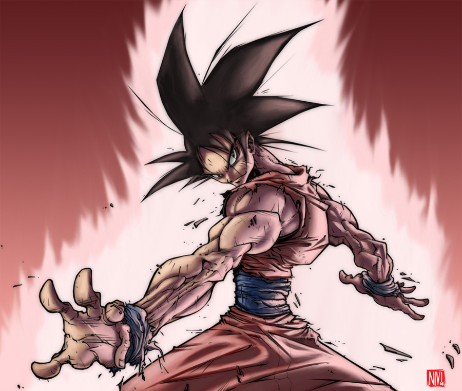 Son Goku doing kaioken by NicolasViig