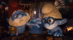 Papa Smurf and Brainy