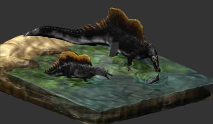 Spinosaurus 3d isometric