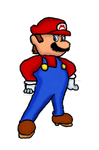 A drawing of Super Mario