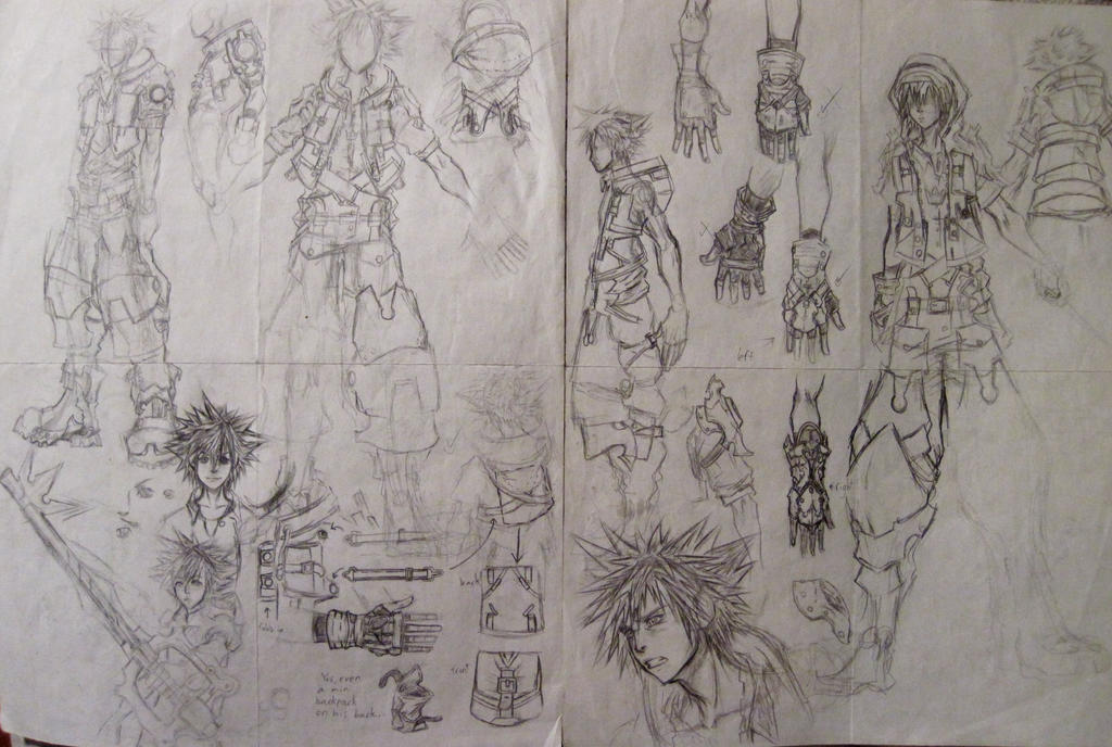 D Line Drawing Game : Kh3 fan made sora concept art pages 5 and 6 by d aspiringameture b