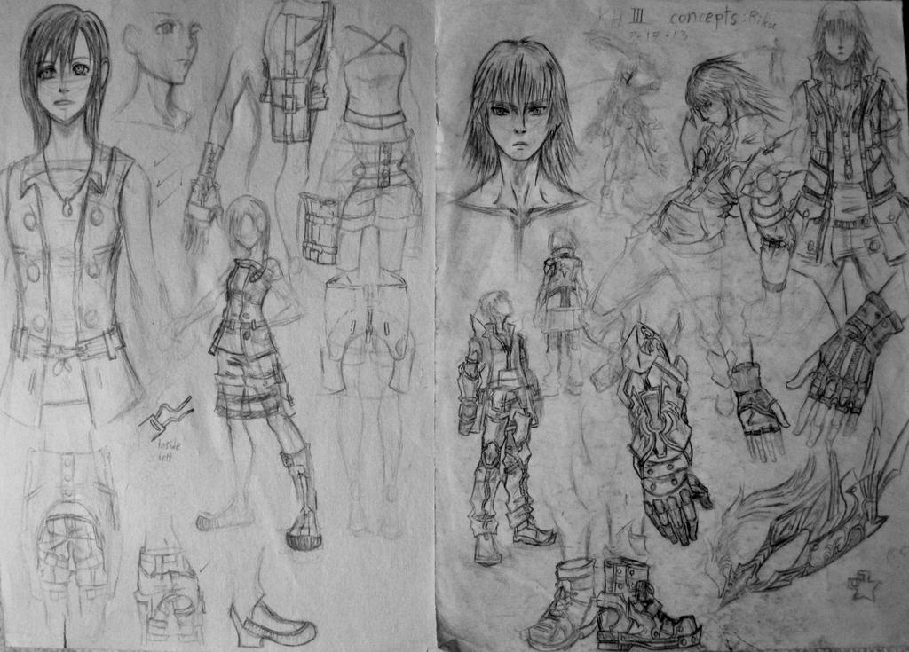 D Line Drawing Game : Kh3 fan made riku and kairi concept art by d aspiringameture b on