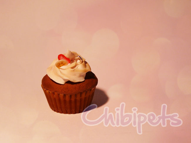 Tiny handmade chocolate cupcake by Chibi-pets