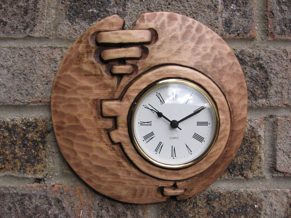 wood carving wall clock by