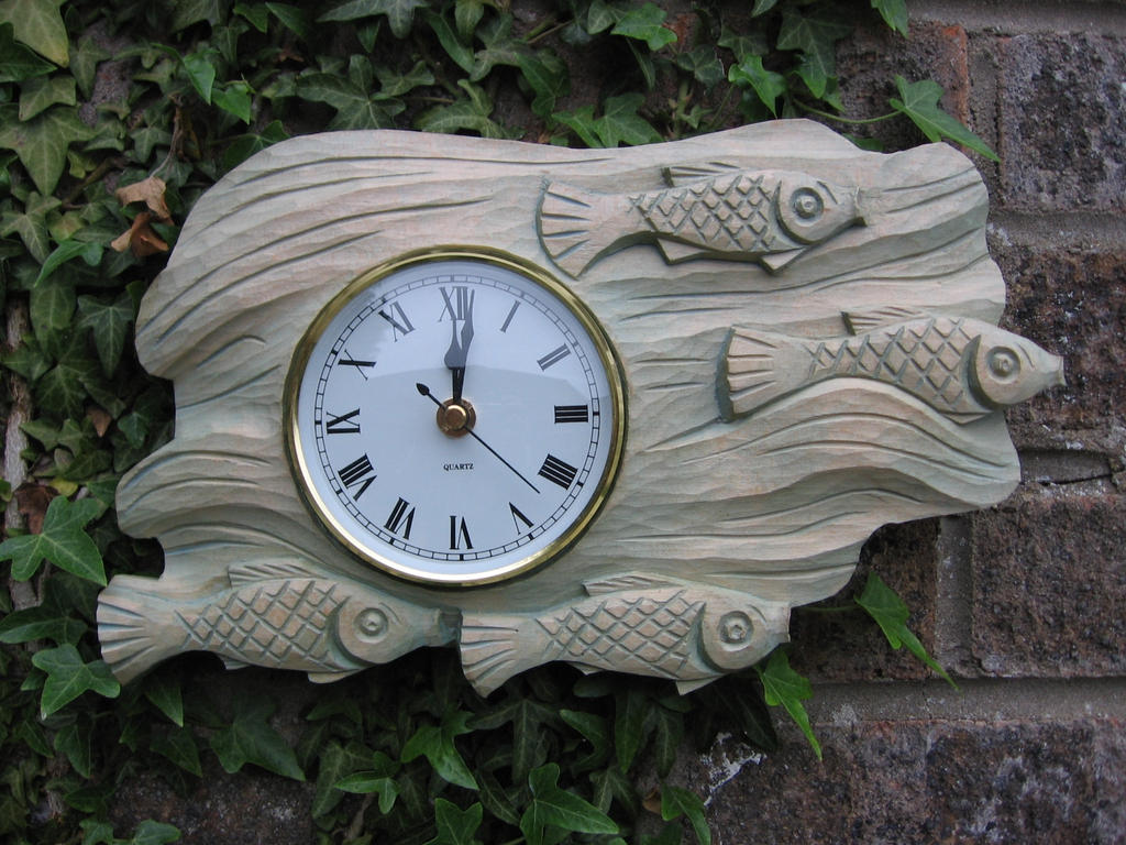Wood carving fish  wall clock by ivaylozlatev on