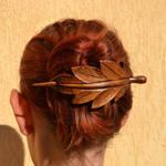 Leaf,Wooden Hair Barrette
