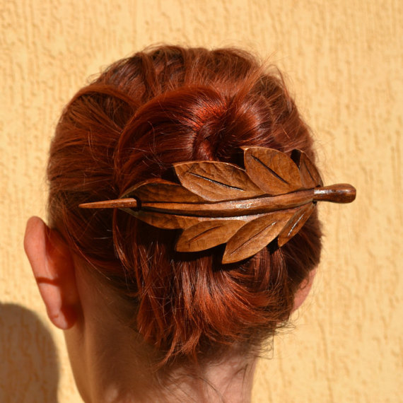 Leaf,Wooden Hair Barrette by IvayloZlatev