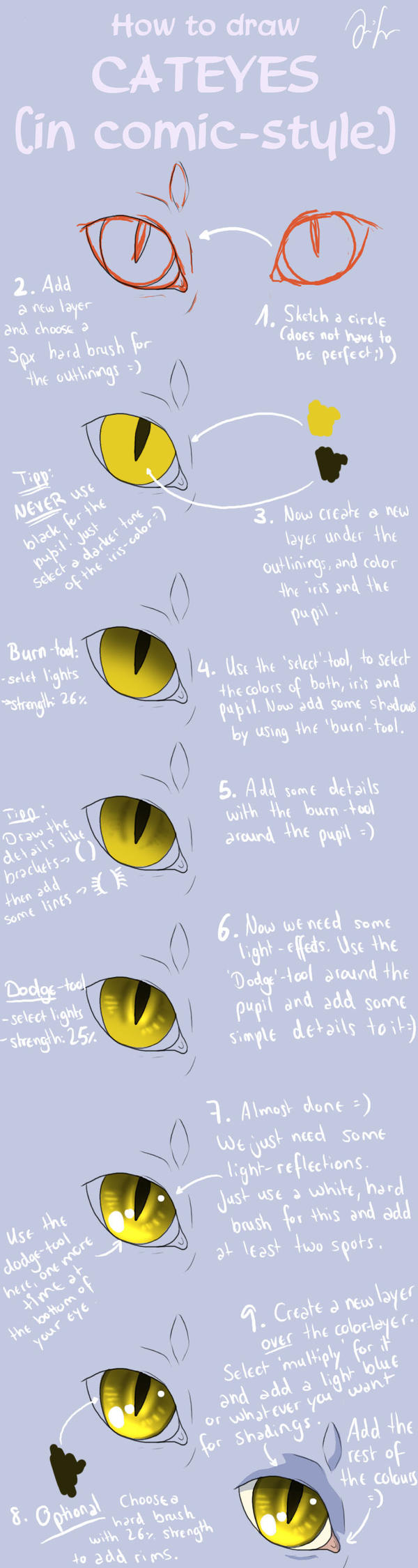 Cat Eye Tutorial (comic-style) by Mizu-no-Akira