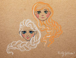 Frozen - Elsa and Anna by SleepyHeadKL