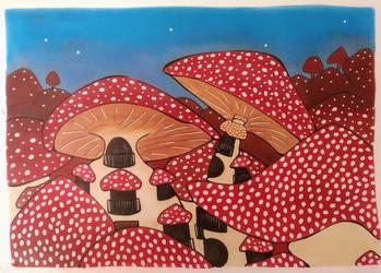 Mushroom town in the mushroom wood