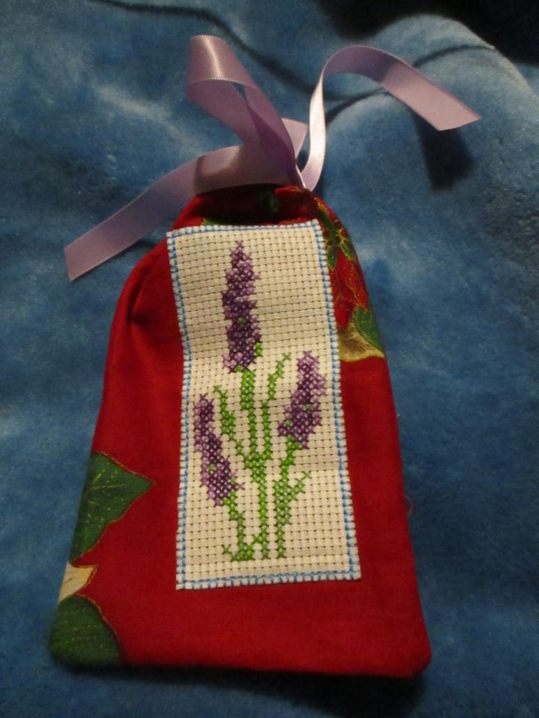 Lavender Cross stitch bag by DJChocolate-Lover