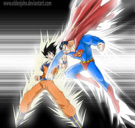 Superman vs. Son Goku by eldenjohn