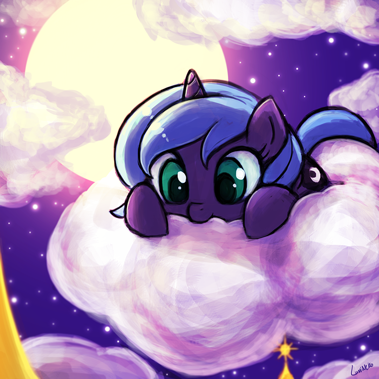 nom the cloud, luna! by luminaura