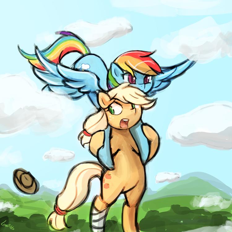 (45minutechallenge) Rainbowdash n applejack