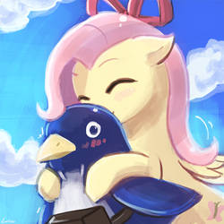 45minutechallenge - Fluttershy booping a prinny