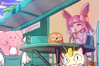 Nomming on ice cream by luminaura
