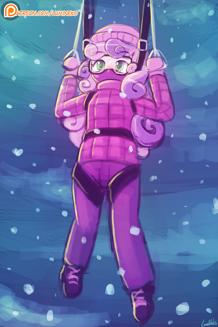 (Speed Paint) Winter parachuting by luminaura