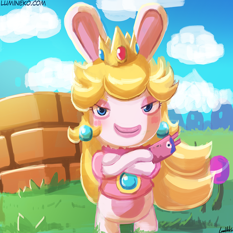 World Of (New) Nintendo (3DS XL) Speed_paint___rabbid_peach_by_luminaura-dbd1fu4