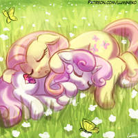 Sleeping in the Flowers by luminaura