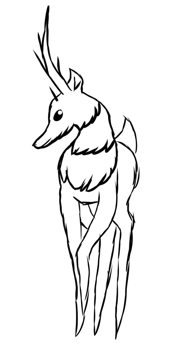 Tall deer thing with horns and floof