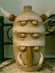 great horned clay god