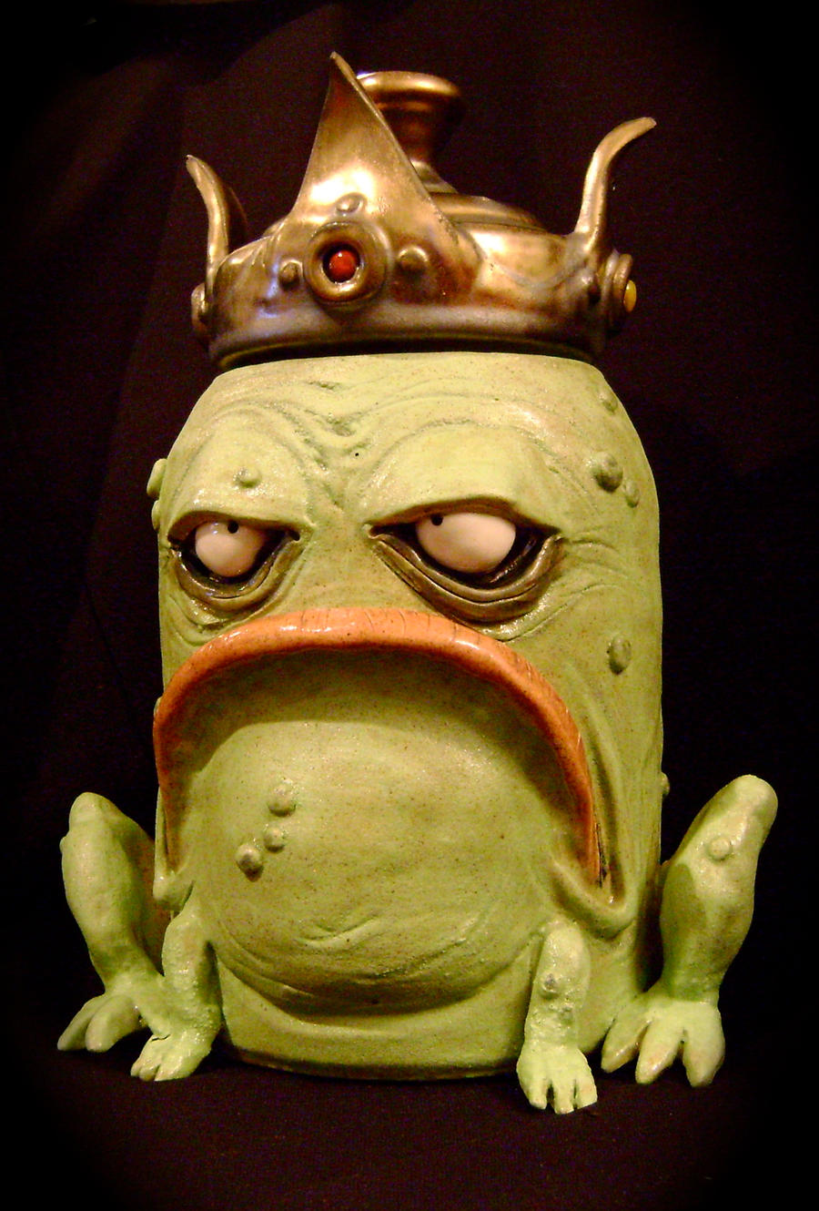 King Frog Cookie Jar-complete by thebigduluth
