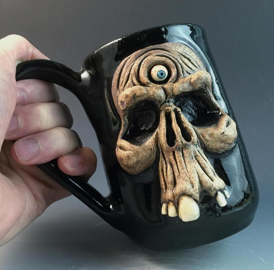 Tri-Clops Skull Mug- FOR SALE on Ebay by thebigduluth