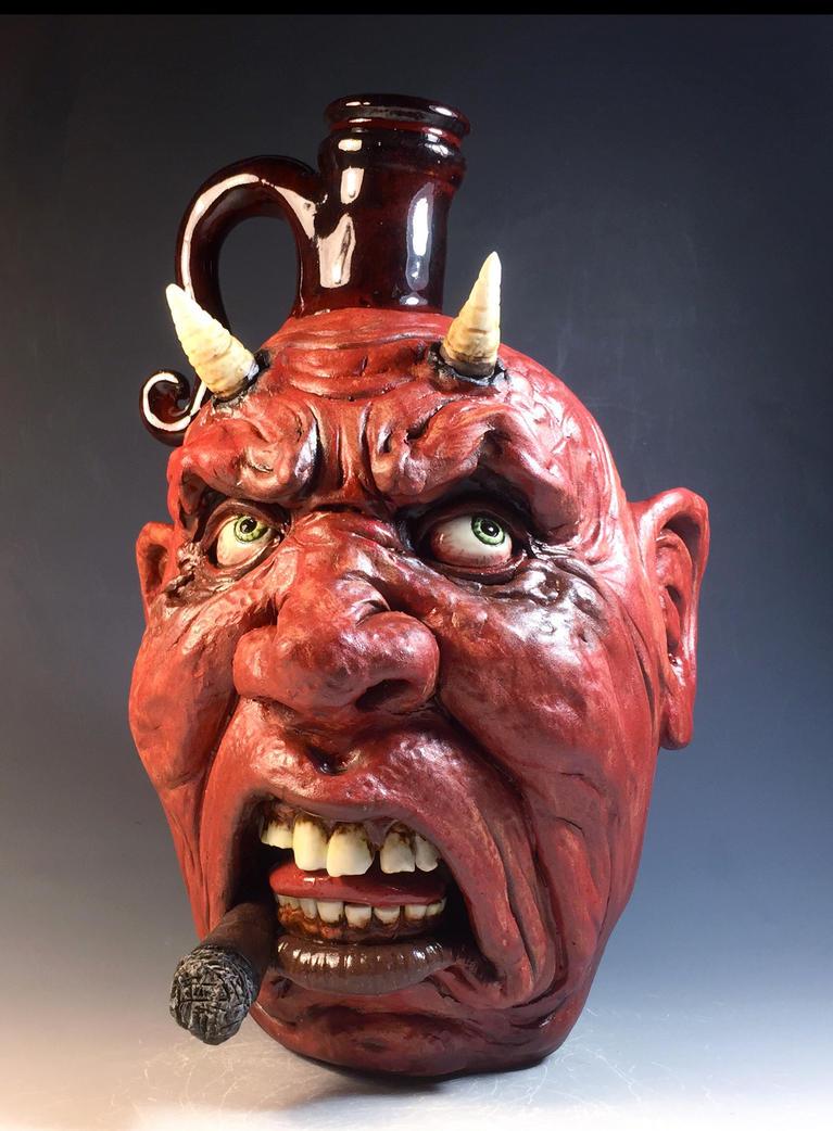 Angry Cigar Devil Jug by thebigduluth