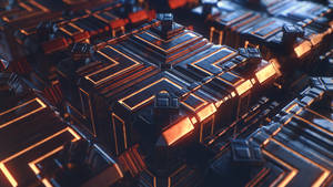 Tech scene with some cubes 4K Wallpaper